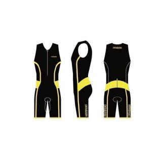 Triabana Tricompress Trisuit Premium  Triathlon Einteiler L mit Cold Black Schwarz-Gelb