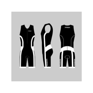 Triabana Tricompress Trisuit  Premium Triathlon Einteiler mit Cold Black Schwarz-Weiss XXL